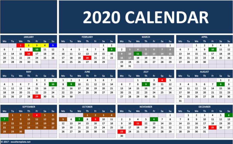 2020 Calendar - Landscape Model 1