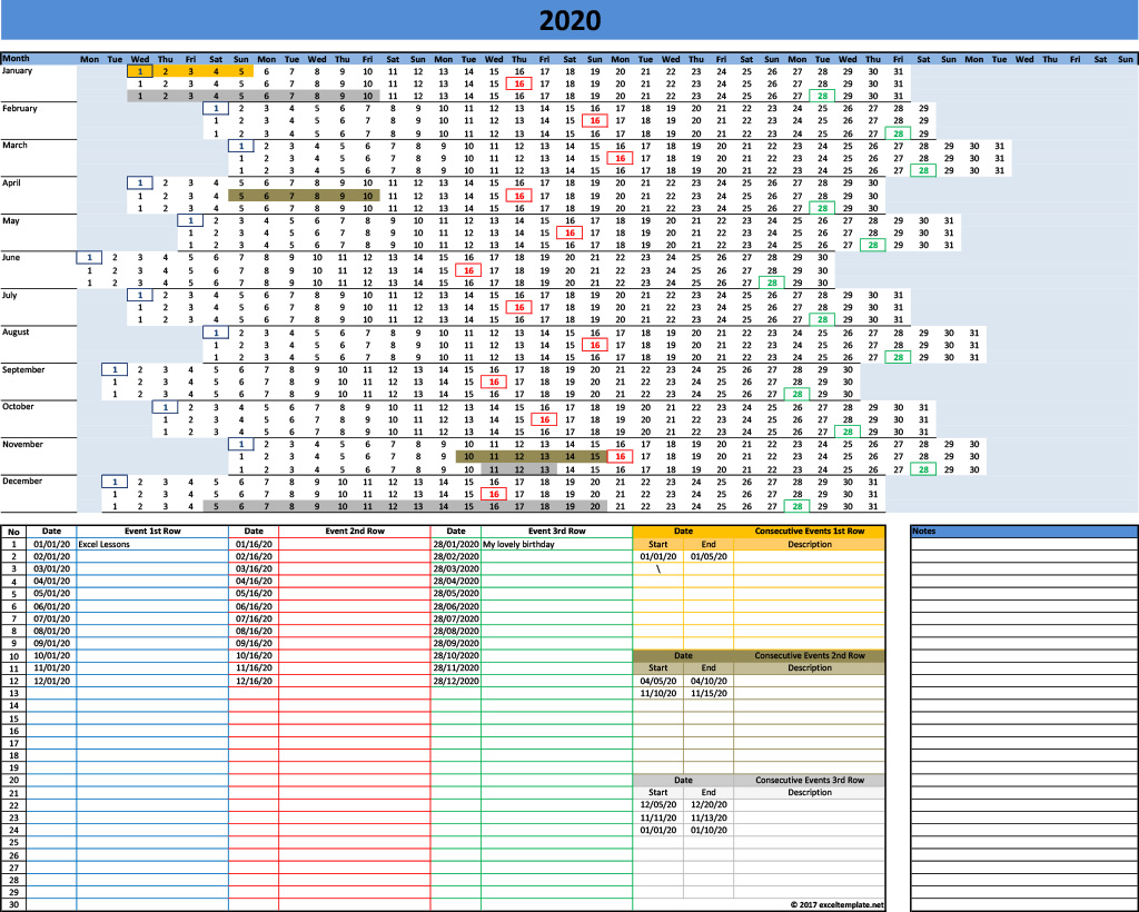 2020 Calendar Linear With 3 Rows