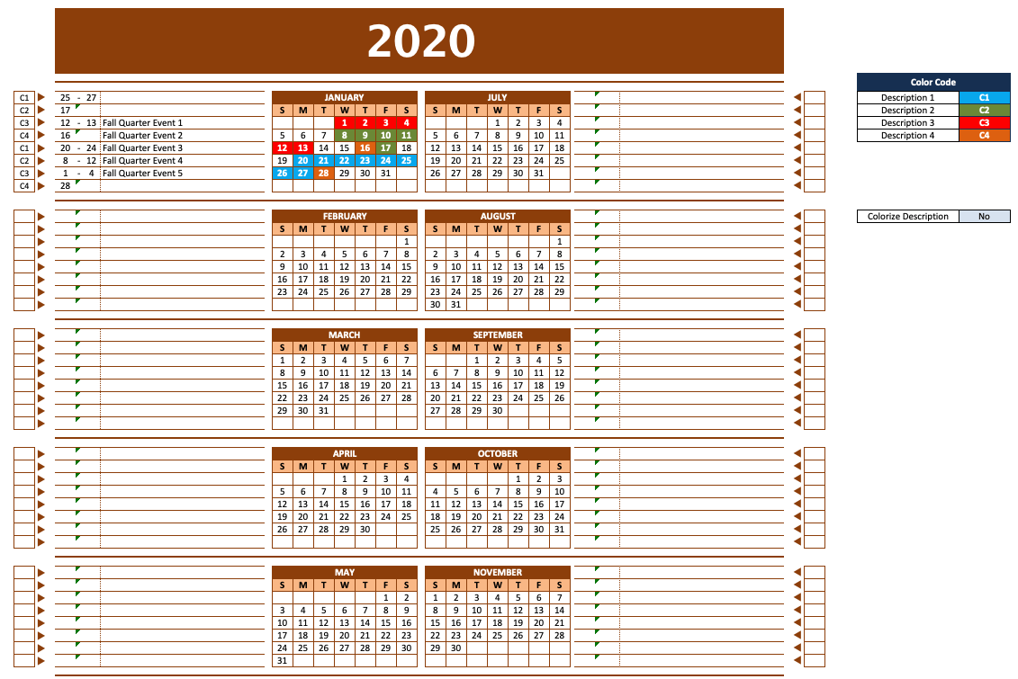 2020 Calendar with Left and Right Notes