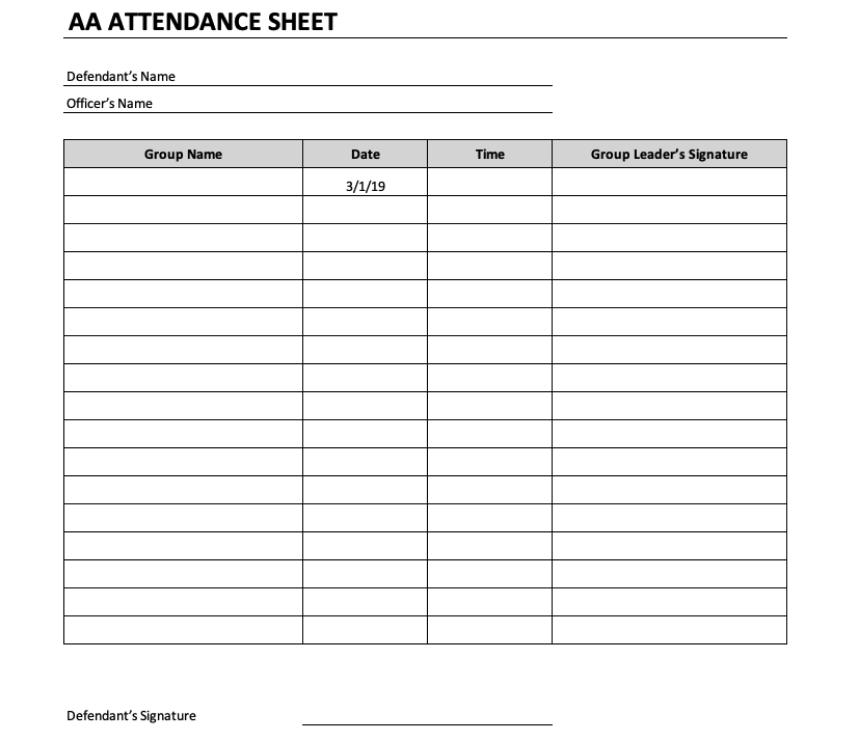 AA Attendance Sheet