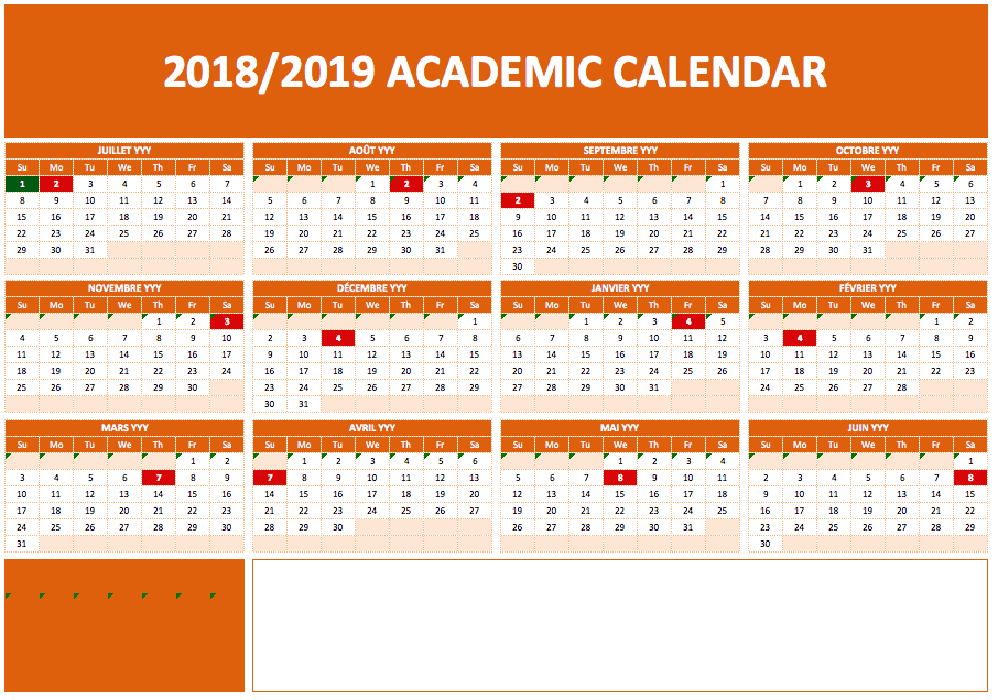 2019 Academic Calendar Templates