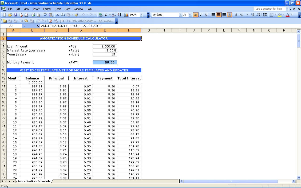 Amortization schedule calculator excel templates for Amortization formula excel template