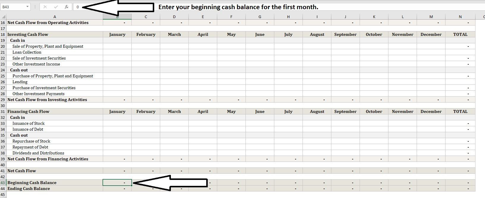 Annual Cash Flow Calculator Cash Balance