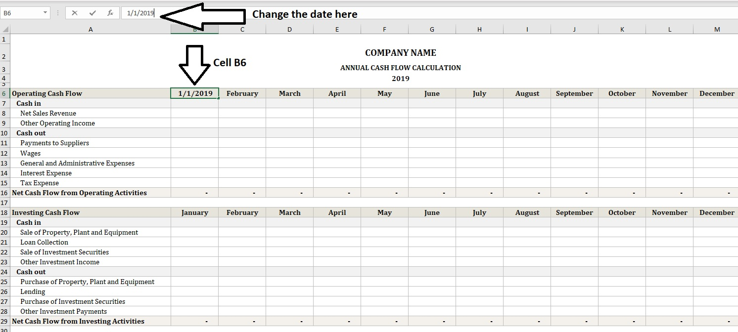 Annual Cash Flow Calculator Change Dates