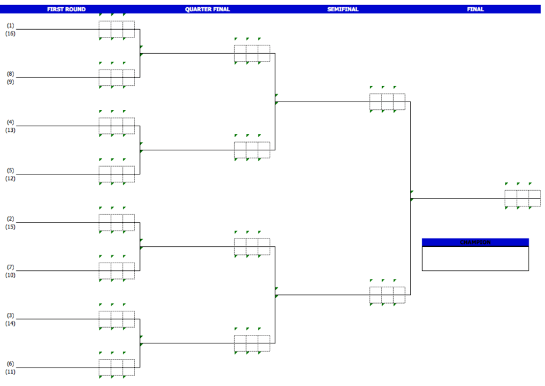 Badminton Tournament Brackets 16players