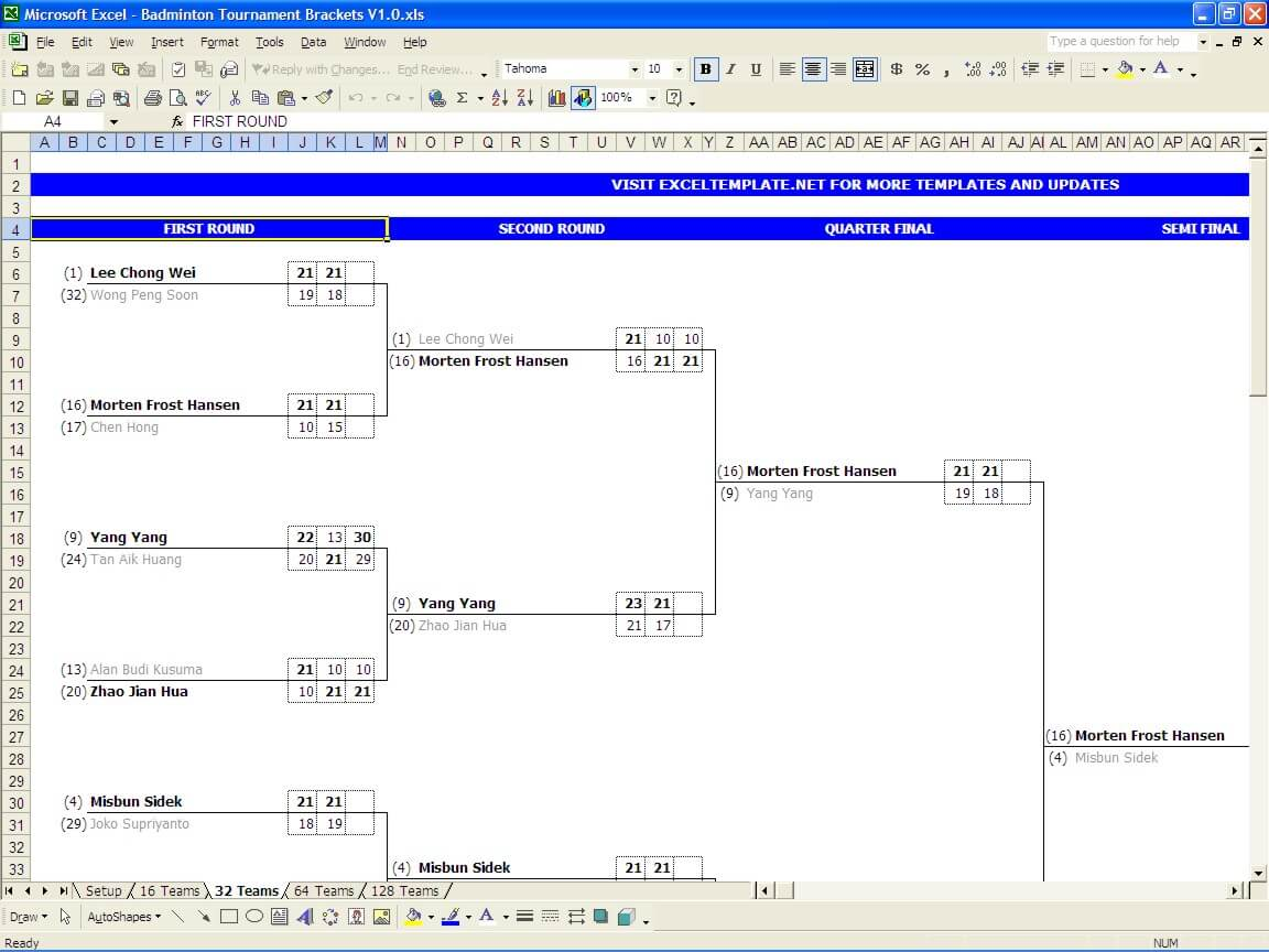 Badminton tournament bracket excel templates for Tournament spreadsheet template