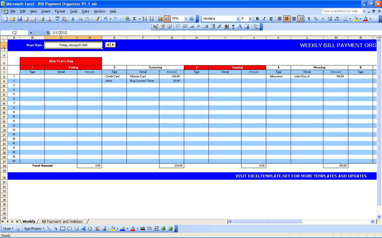 credit card payment spreadsheet template