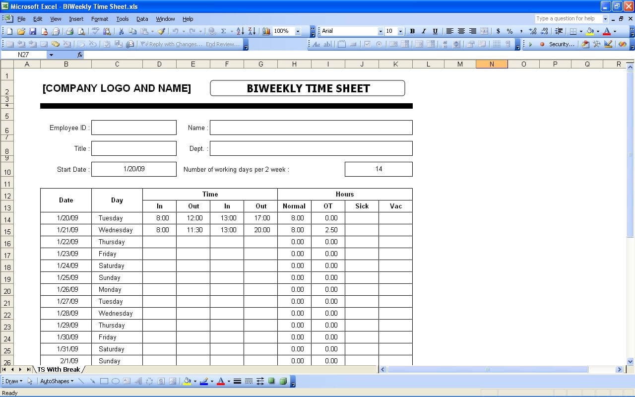 Time sheets excel templates biweekly timesheet alramifo Image collections