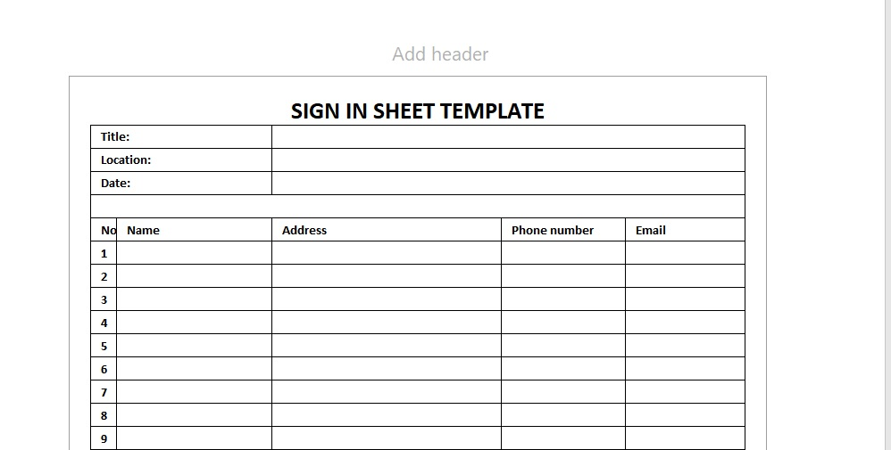 Blank Sign-In Sheet Portrait Contact Info