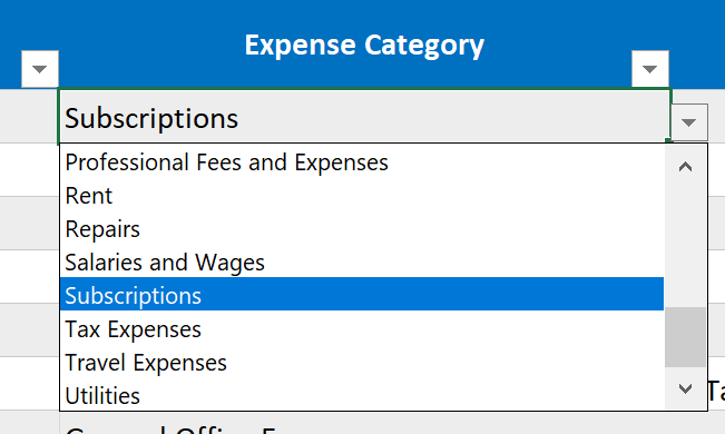 Business Expense Tracker Category