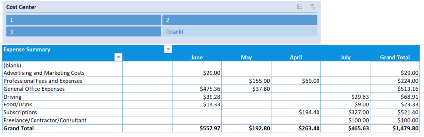 Business Expense Tracker Month Summary
