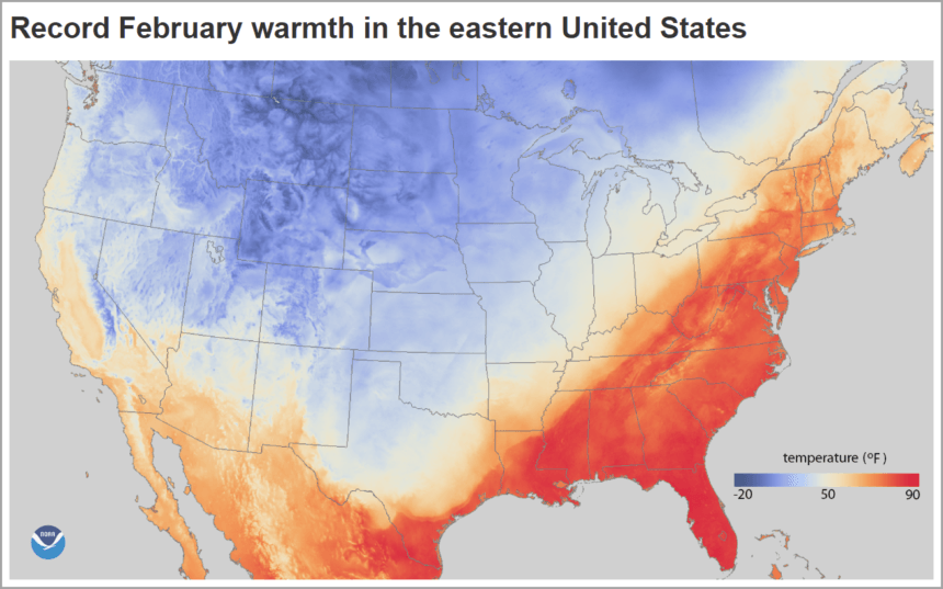 Calendar Chart NOAA Temperature Map Example