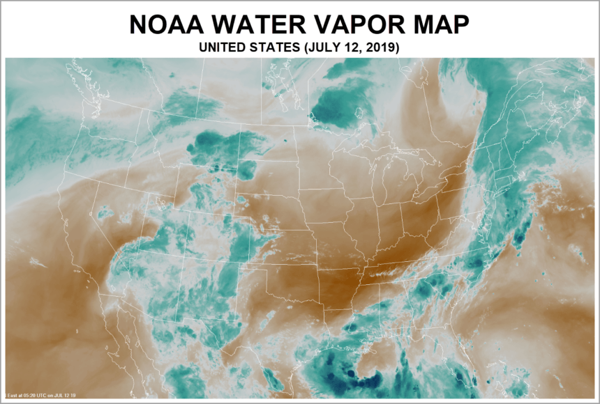 Calendar Chart NOAA Water Vapor Map Example