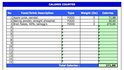 Calorie Tracker Spreadsheet