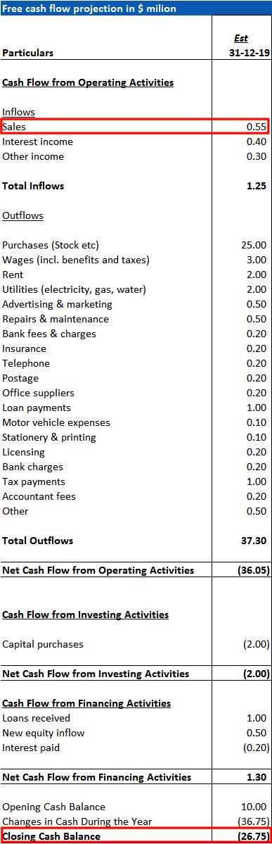 Cash Flow Projection Example » ExcelTemplate.net