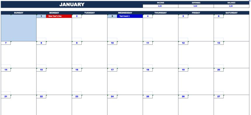 Cash Flow Planner month calendar