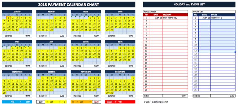 Cash Flow Planner yearly calendar