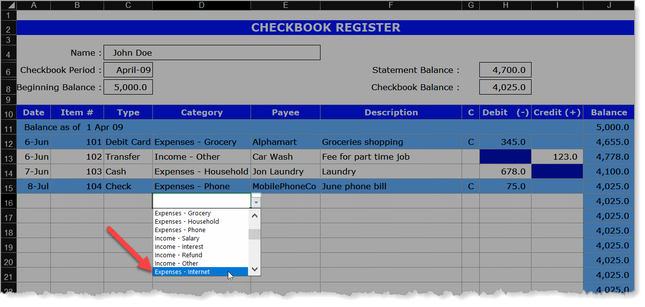 Checkbook Register New Category