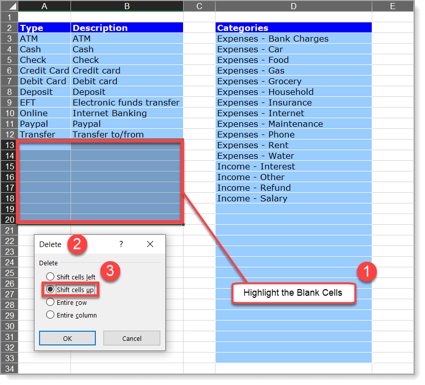 Checkbook Register Remove Spaces