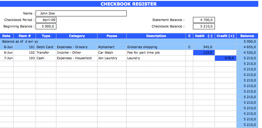 Checkbook Register main