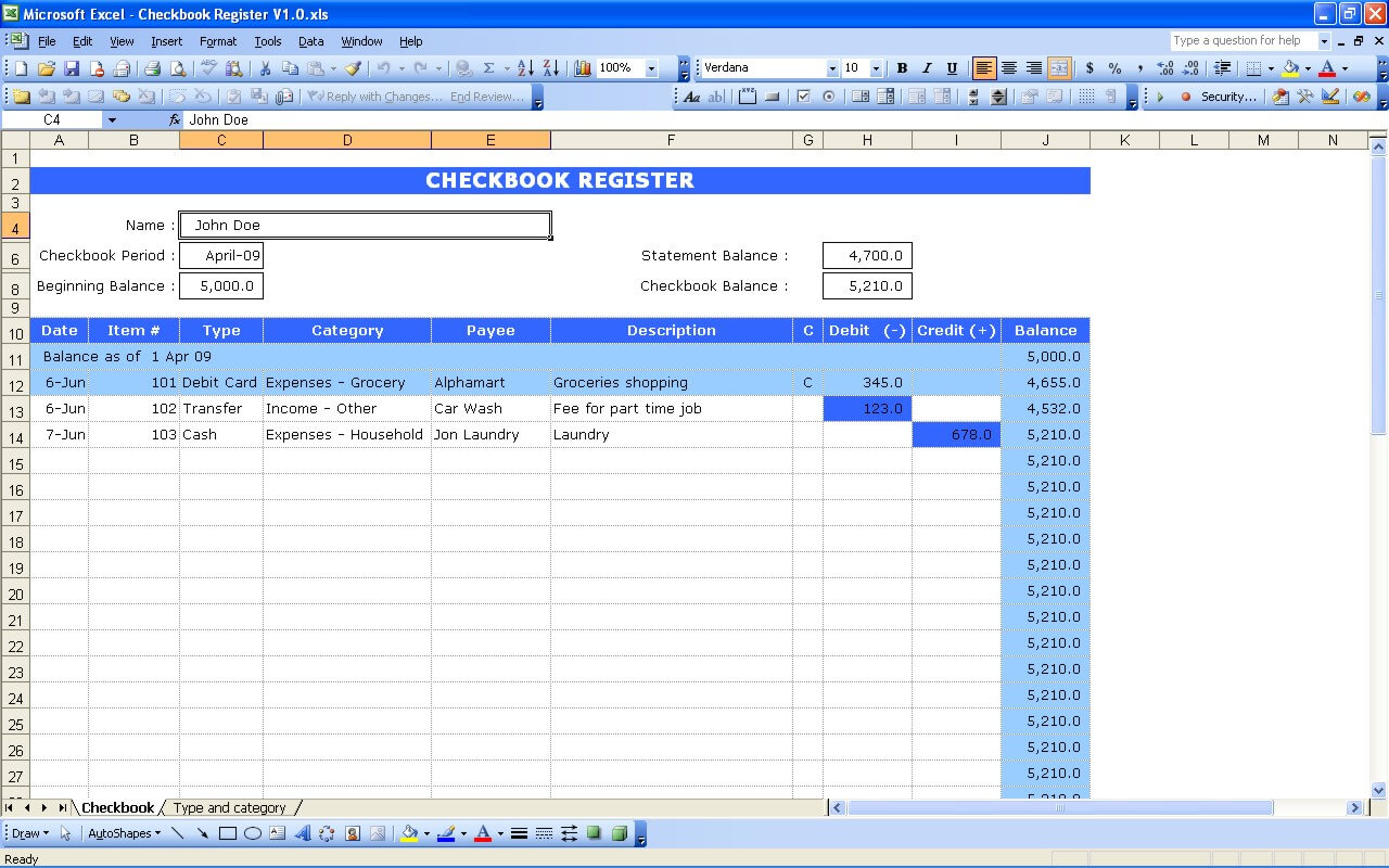 checkbook register excel templates