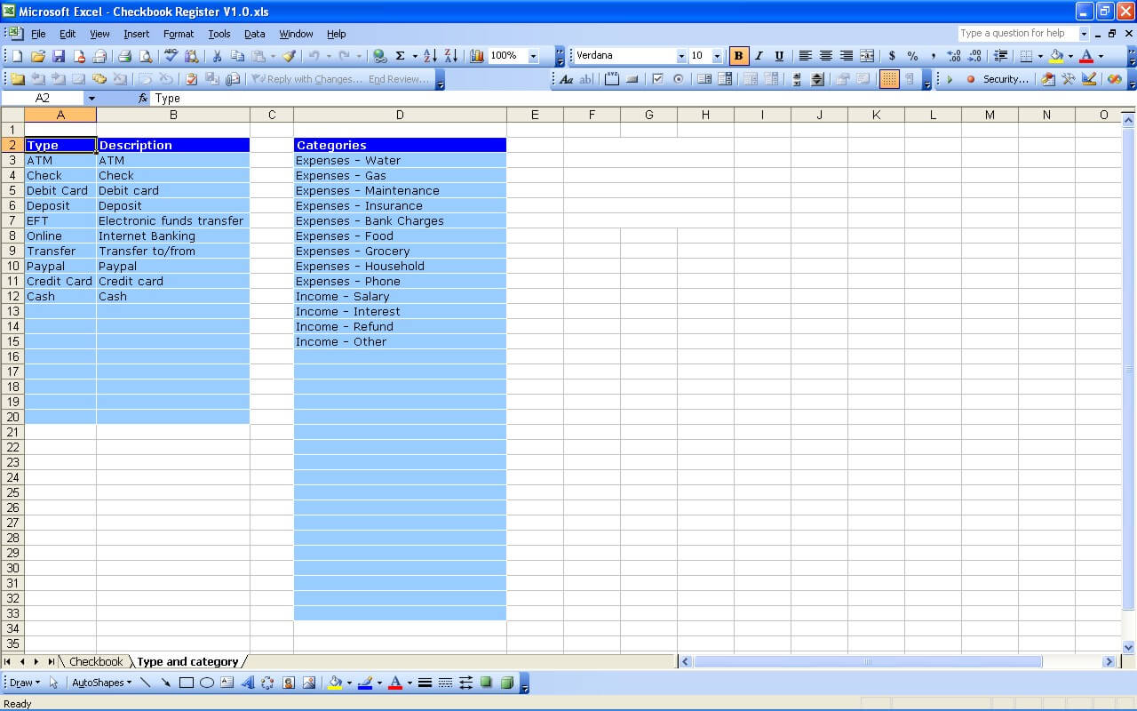 Checkbook Register | Excel Templates