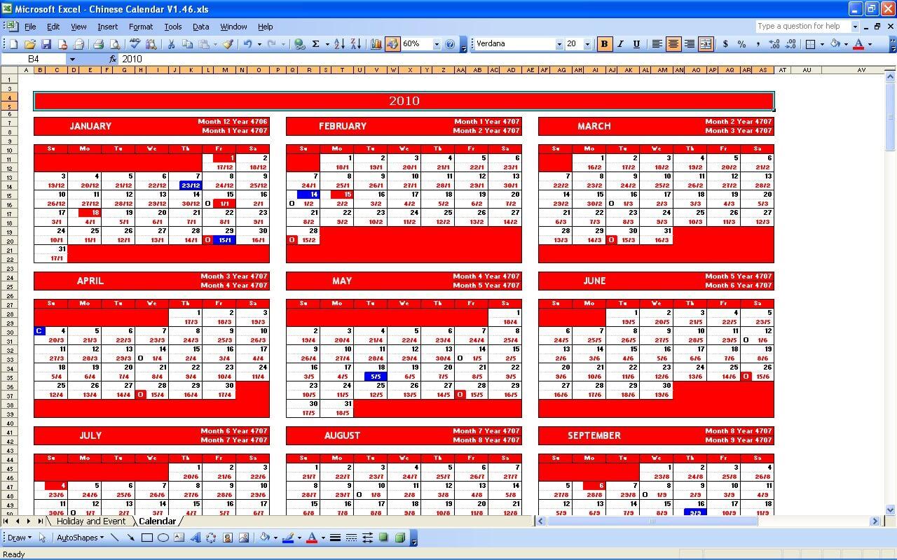 Chinese Calendar 2019 » ExcelTemplate net