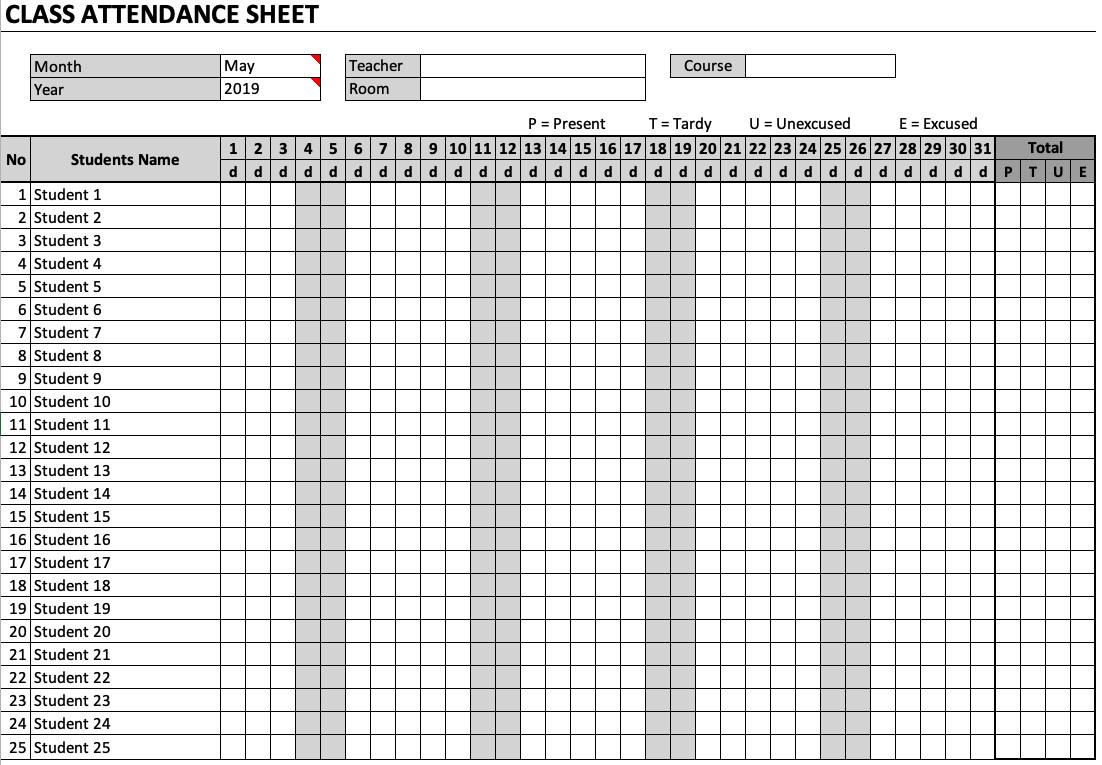 class attendance sheet  u00bb exceltemplate net