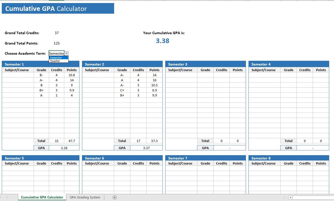 Cumulative GPA Calculator Main View