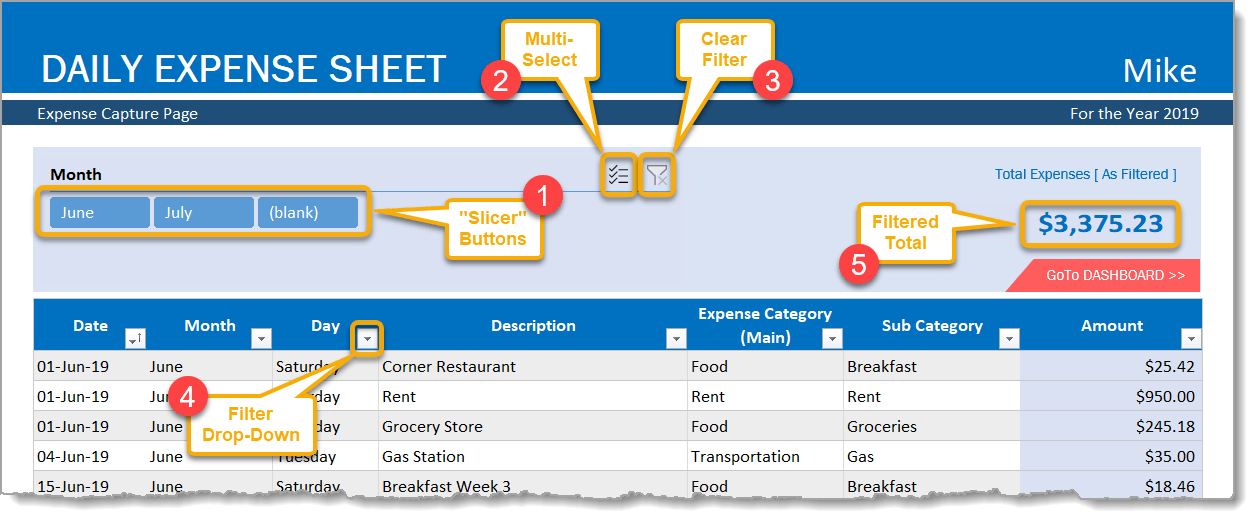 Daily Expense Sheet Capture Filtering