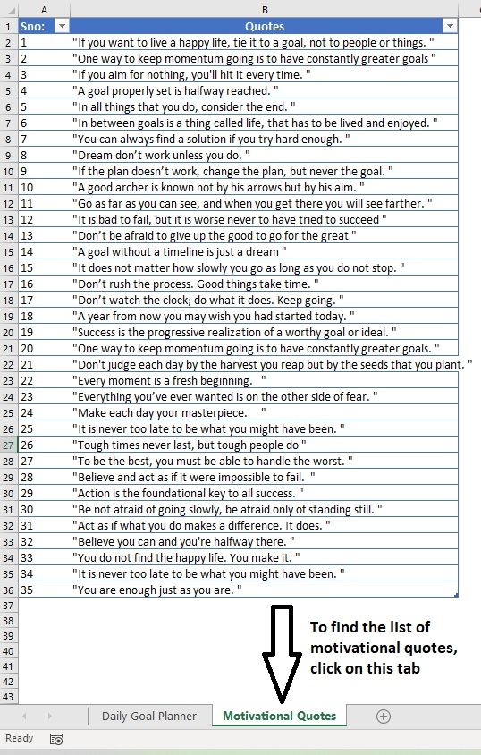 Daily Goal Planner Motivational Quotes