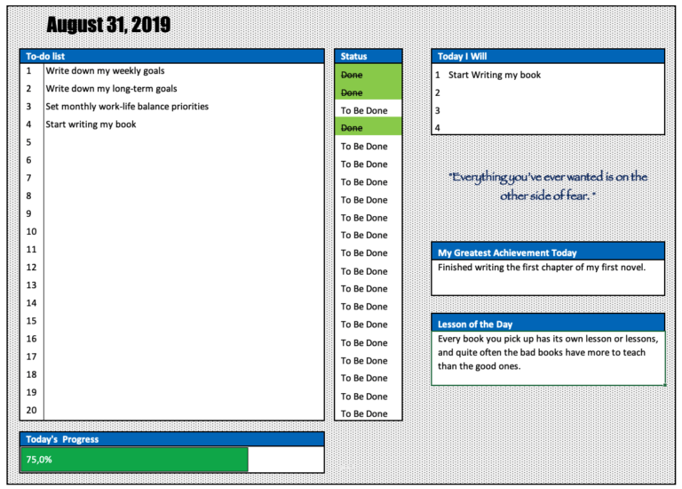 Daily Goal Planner Overview