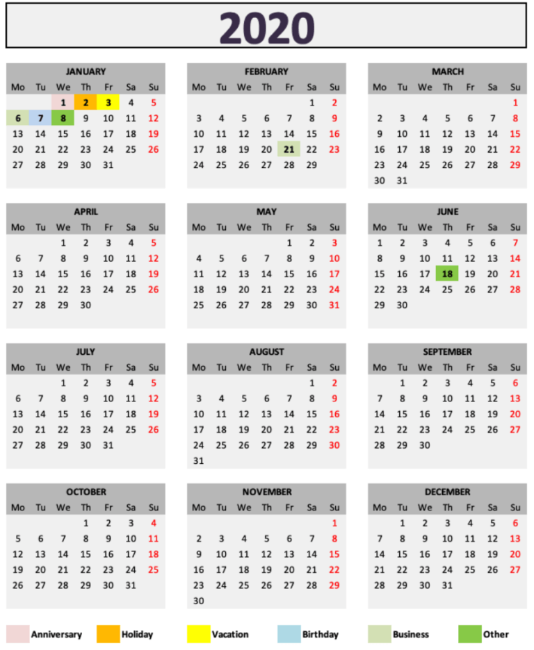 Daily Monthly Yearly Calendar Template Month Overview