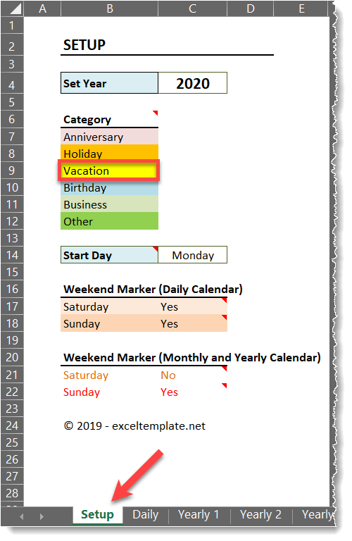 Daily Monthly Yearly Calendar Template Setup