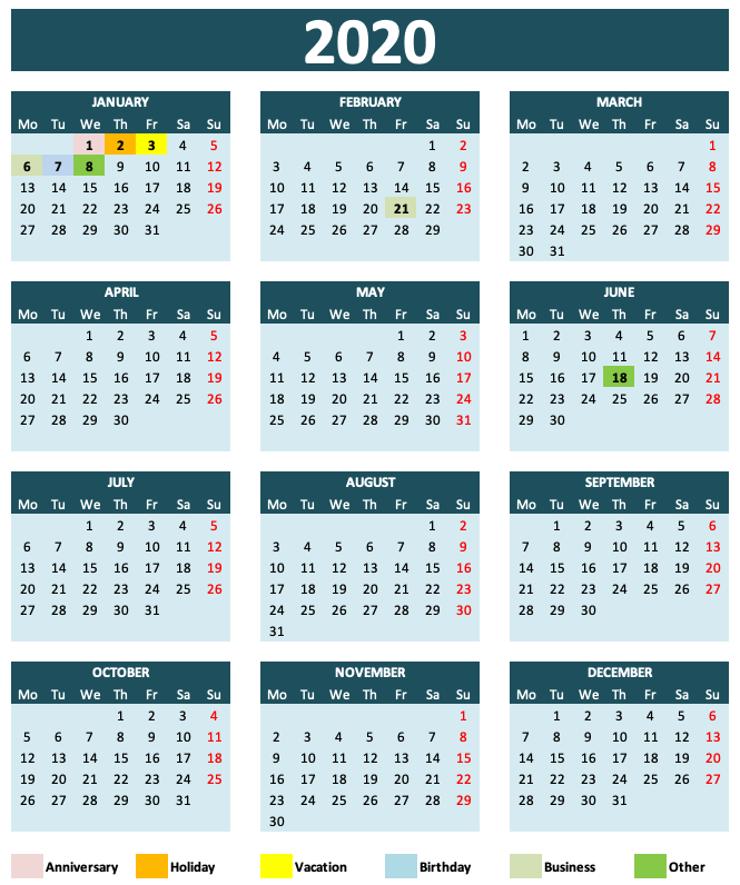 Daily Monthly Yearly Calendar Template Teal Year