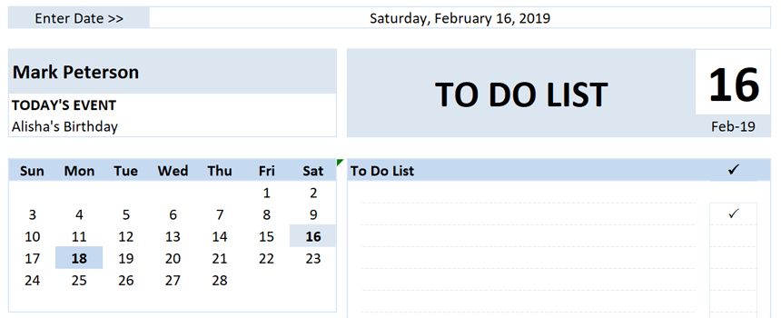 Daily To Do List Planner Name and Date
