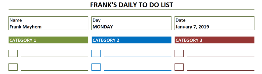 Daily To Do List Template Date and Title