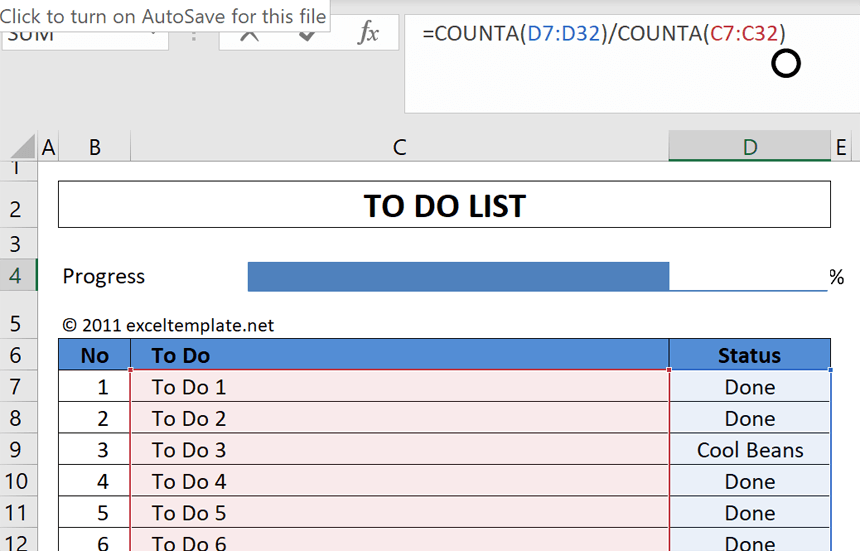 Daily To Do List Template expand formula range