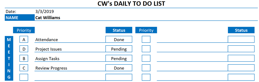 Daily To Do List Template new tasks