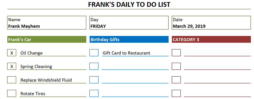Daily To Do List Template populate tasks
