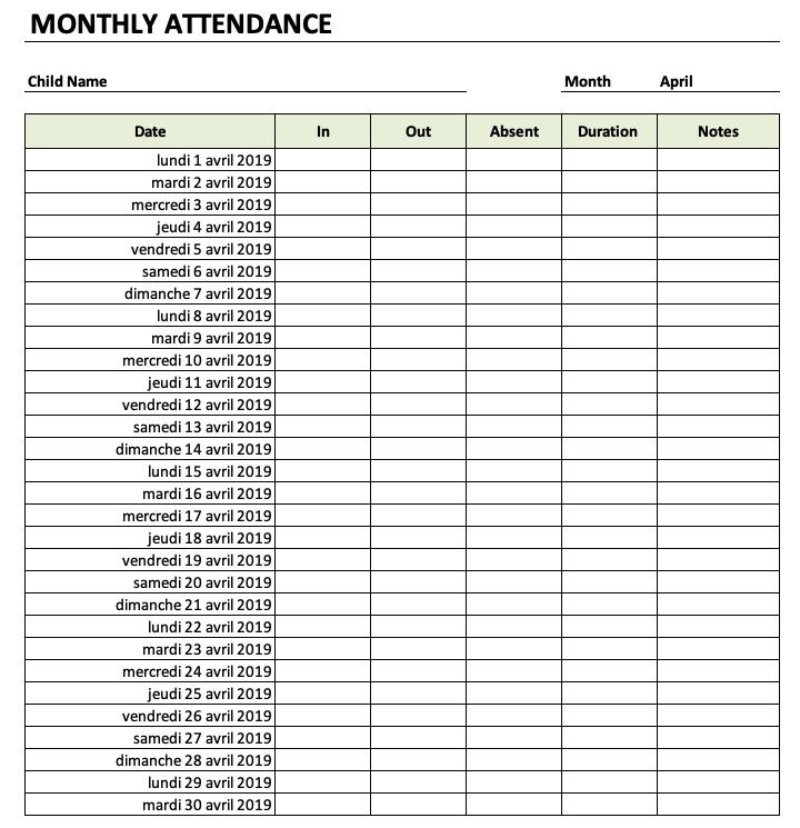 Daycare Attendance Sheet » ExcelTemplate.net