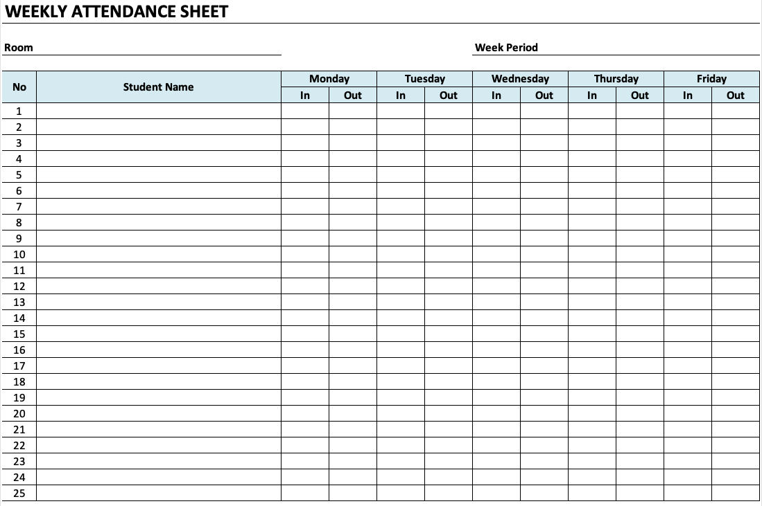 Daycare Attendance Sheet » ExcelTemplate.net