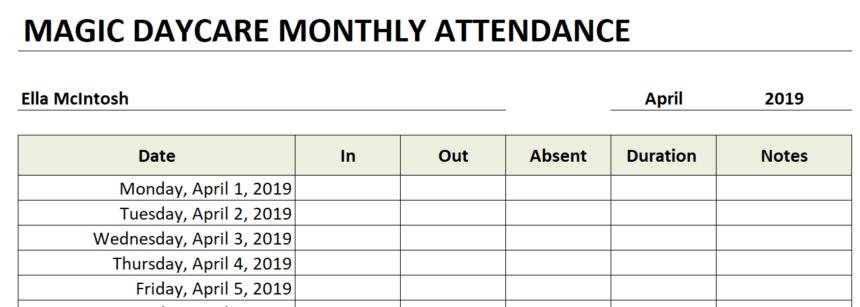 Daycare Attendance Sheet personalize