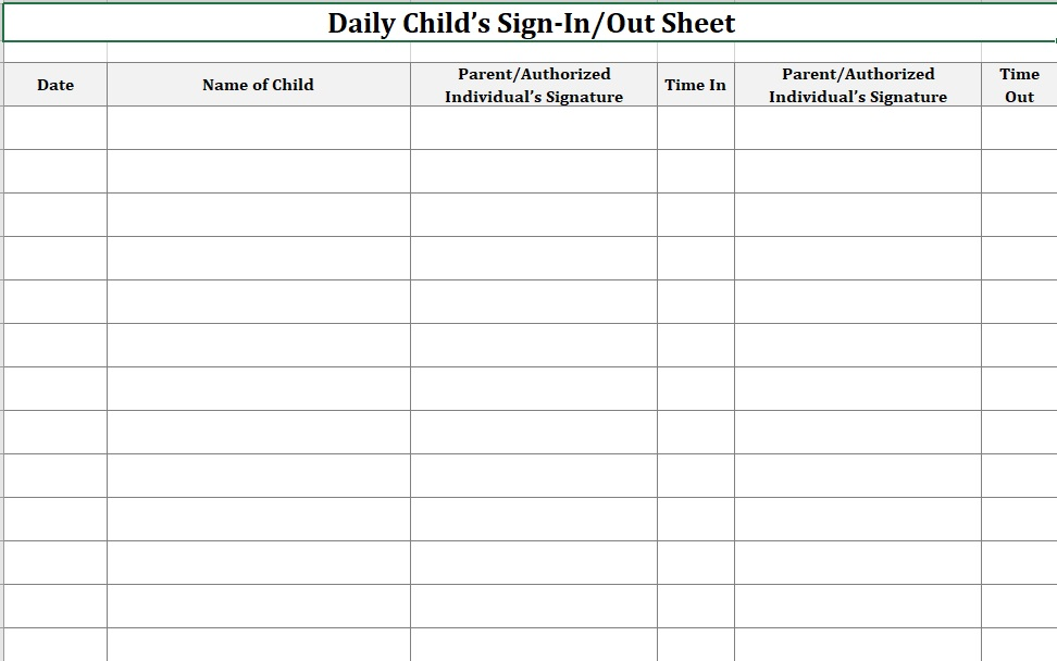 Daycare Sign-In Sheet Month Landscape