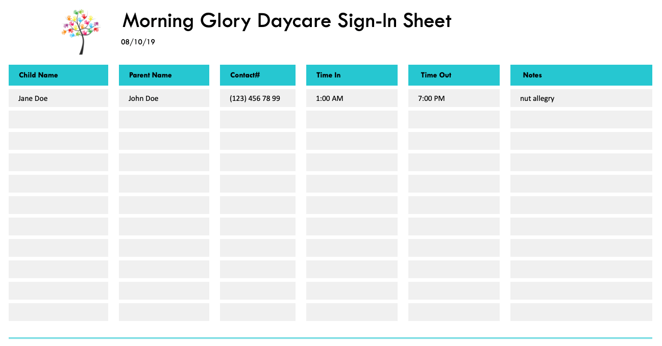 Daycare Sign-In Sheet