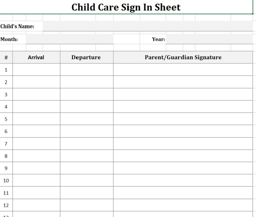 Daycare Sign-In Sheet Month Portrait