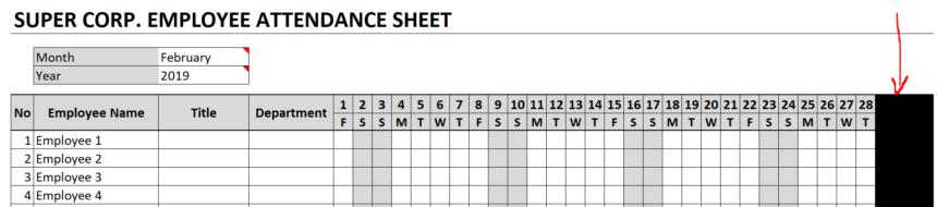 Employee Attendance Sheet Blanked