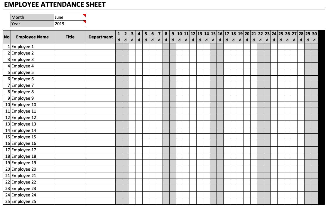 employee attendance sheet  u00bb exceltemplate net
