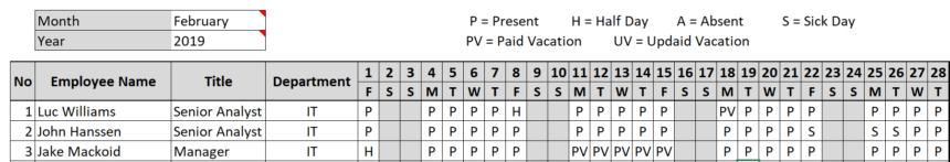 Employee Attendance Sheet Labels