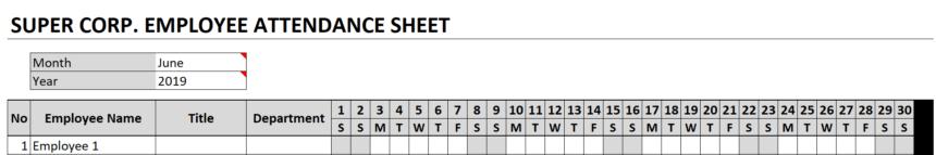 Employee Attendance Sheet Personalize